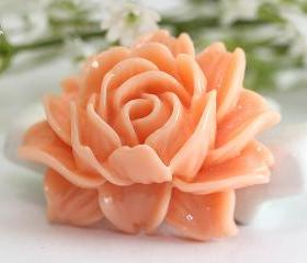 Large Light Orange Flower Resin Cabochons 2pc