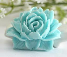 Large Skyblue Flower Resin Cabochons 2pc