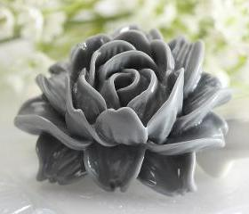 Large Gray Flower Resin Cabochons 2pc