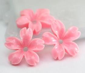 Pink Cherry Blossoms Resin Cabochons 8pc