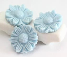 Pale Blue Flower Resin Cabochons 6pc