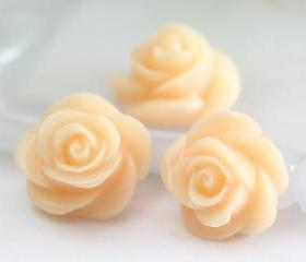 Beige Rose Resin Cabochons 8pc