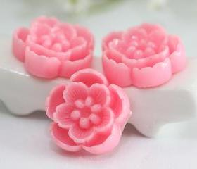 Pink Cherry Blossoms Resin Cabochons 6pc