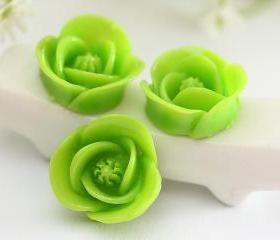 Apple Green Rose Resin Cabochons 12pc