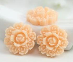 Light Orange Flower Resin Cabochons 8pc