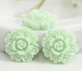 Light Green Flower Resin Cabochons 8pc