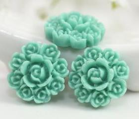 Aquamarine Flower Resin Cabochons 8pc