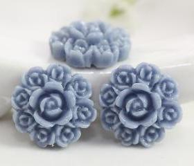Pale Aqua Flower Resin Cabochons 8pc