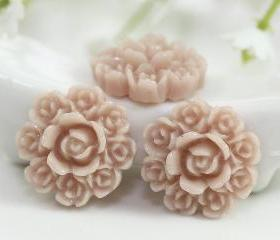 Light Brown Flower Resin Cabochons 8pc