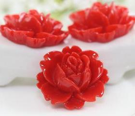 Red Rose Resin Cabochons 6pc