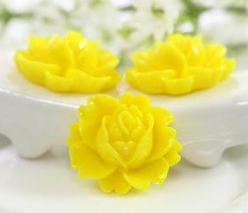Yellow Rose Resin Cabochons 6pc