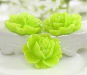 Lime Green Rose Resin Cabochons 6pc
