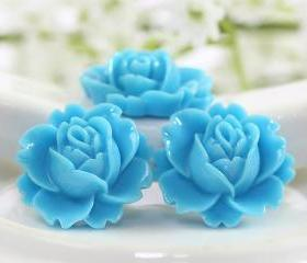 Light Blue Rose Resin Cabochons 6pc