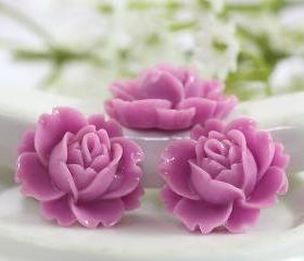 Lilac Rose Resin Cabochons 6pc