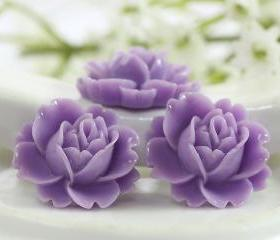 Lavender Rose Resin Cabochons 6pc