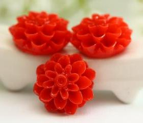 Red Dahlia / Mums Flower Resin Cabochons 6pc