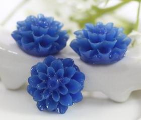 Dark Blue Dahlia / Mums Flower Resin Cabochons 6pc