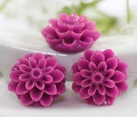 Plum Dahlia / Mums Flower Resin Cabochons 6pc
