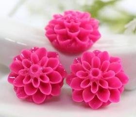 Deep Pink Dahlia / Mums Flower Resin Cabochons 6pc