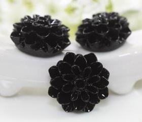 Black Dahlia / Mums Flower Resin Cabochons 6pc