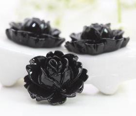 Black Rose Resin Cabochons 6pc