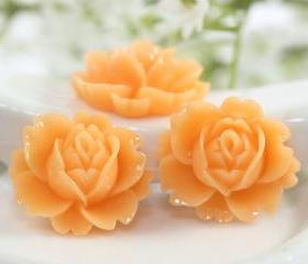 Orange Rose Resin Cabochons 6pc