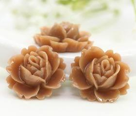 Brown Rose Resin Cabochons 6pc
