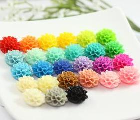 Dahlia / Mums Resin Cabochons Mix Pack 27pc