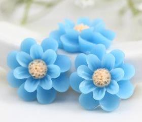 Blue Flower Resin Cabochons 6pc